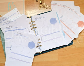 A5 body progress planning, body goals, body progress and body recap planner inserts - Fitness and body planner inserts for A5 organizer