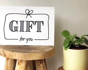postcard, gift card, gift for you, birthday card, congratulation card, anniversary card, teachers gift, card black & white, invitation