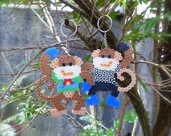 Monkey Perler Beads Keychain