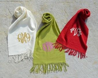 Monogram Cashmere Feel Scarves - Monogram Solid Color Scarfs - Personalized Scarves - Personalized Monogram Scarf - Cashmere Feel Scarves