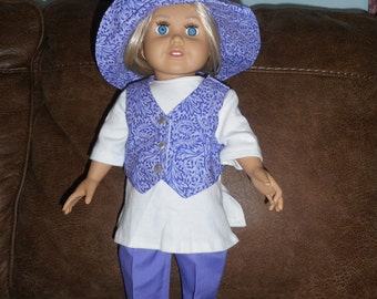 Modern Purple Pants Outfit with White Tunic for 18 inch dolls