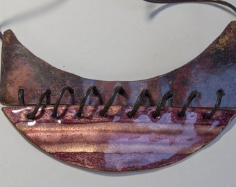 SHIP, fire enamel pendant