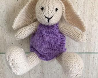 Stuffed Bunny, Knit Bunny, Bunny Doll, Plush Bunny, Wool Bunny, Stuffed Animal, Baby Girl Gift, Nursery Toy, Kids Toy, Knit Toy, Knit Rabbit