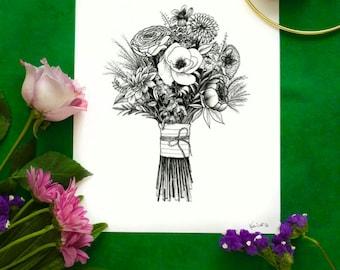Custom wedding bouquet ink drawing
