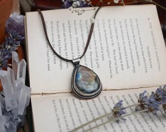 Sky And Sea - Silver and Copper Labradorite Amulet