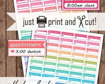 Planner Appointment Stickers, Printable Appointment Planner Stickers, PDF
