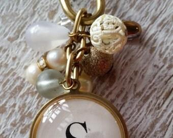 Beaded Key Ring Monogram S
