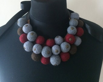 Pure colorful wool felted ball necklace with satin ribbon