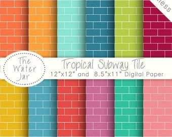 Colorful Subway Tile Digital Paper Pack SEAMLESS Patterns, Tropical Subway Tile Digital Wallpaper Background, Seamless Repeating Pattern