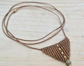 Triangle Macrame Necklace with Turquoise and Brass Beads