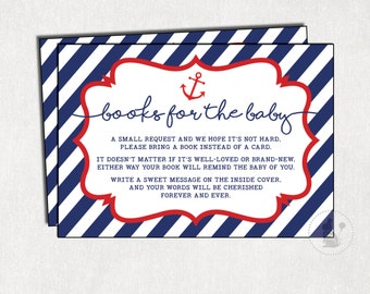 Nautical BOOK REQUEST Printable Card. Anchor Bring a Book Instead of a Card Invitation Insert. Navy Baby Book Card. Navy and Red. NAU1