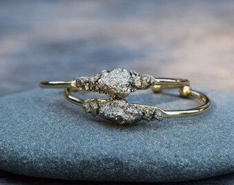 Raw Pyrite Bracelet, Pyrite Chunk Cuff Bracelet, Gold Pyrite Iron Ore Bangle Bracelet, Raw Natural Stone, Mineral Bracelet, Healing Stone