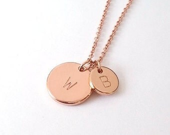 Personalized Two Rose Gold Circle Initial Necklace, Mother Daughter Necklace, His and Hers initial necklace, Mother's Day Gift