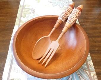 Vintage wooden salad spoons with ceramic Corn cob handles