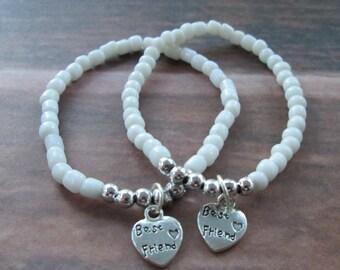 Matching best friend bracelets white bohemian beaded stretchy charm bracelets
