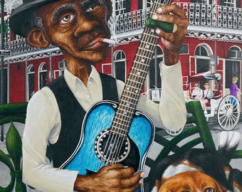 """New Orleans Art """"Exile on St. Peter Street"""" Acrylic Painting / Print, Blues"""