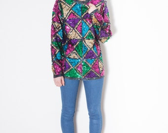 Vintage Geometric Sequined Sweater