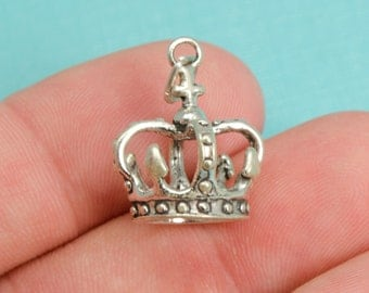 Sterling Silver Princess Crown Bracelet Charm, Royalty, Jewelry, .925 Silver, DIY Bracelet, (C199)