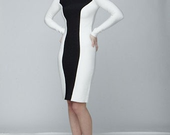 Narces Black and White Bodycon Dress