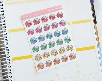 House Planner Stickers, Hand Drawn Stickers, Colorful House Stickers, Planner Stickers