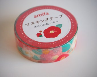 masking tape 15 mm flowers camellia / / tape decorative //washi tape / / Japan / / repositionable adhesive / / Scrapbook / gift package