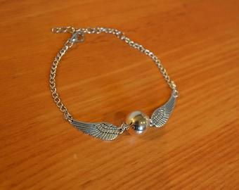 Harry Potter Golden Snitch Bracelet- Silver or Bronze Wings