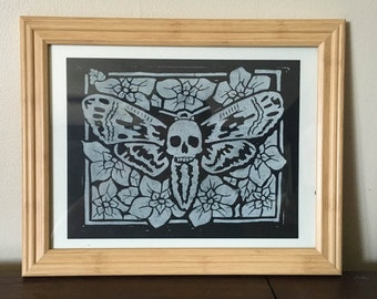 Death's Head Hawkmoth - Block Print