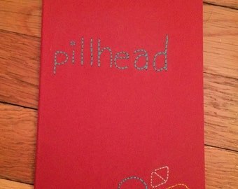 "Embroidered Red ""Pillhead"" Moleskine Notebook"