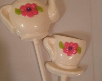Teapot/teacup chocolate lollipops - 1 dozen