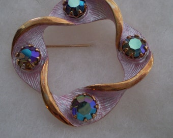 Reduced Price-Vintage Pin-Rainbow Faux Gemstones