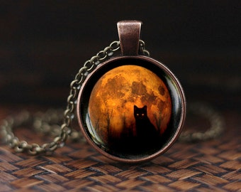 Full Moon Cat Necklace, Yellow Moon necklace, Halloween Black cat necklace, Black cat Moon pendant, Wiccan Necklace