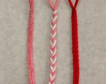 Pretty in Pinks - Braided Pacifier clip, Braided Leather, Suede Leather, Braided Binky clip