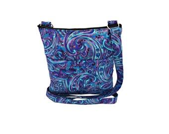 Blue Paisley XL Crossbody Bag // Sling Bag // Crossbody Purse // Shoulder Bag // Hipster