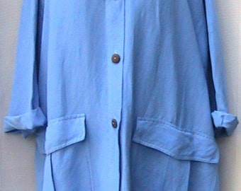 One Size Vintage Blue hooded hand dyed linen jacket