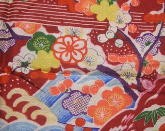 105: flower/chrysanthemum/ume/wave/vintage Kimono silk fabric/red/white/colorful/2pc