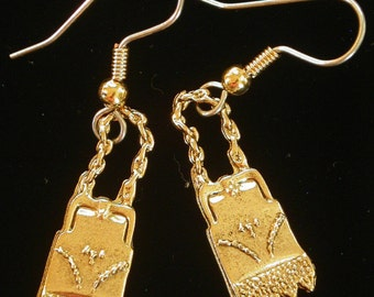 Vintage Victorian Style Purse Earrings 24 kt Gold Plate Fringe EG018