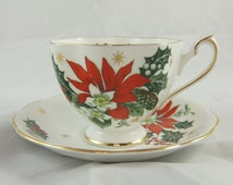 """Princess Anne Fine Bone China """"Noel"""" Teacup and Saucer, Featuring Red Poinsettia with Green Leaves & Gold Stars, Made in England"""