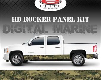 "Digital Marine Camo Rocker Panel Graphic Decal Wrap Truck SUV - 12"" x 24FT"