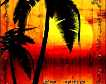 Beach Palm Tree Sunset Cornhole Wrap Bag Toss Decal Baggo Skin Sticker Wraps