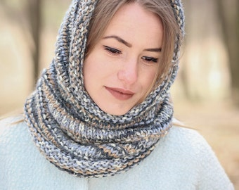 Neck warmer Knitted cowl Infinity scarf Blue scarf Brown cowl Grey neck warmer Hand knit cowl Alpaca scarf Black white cowl Snood scarf