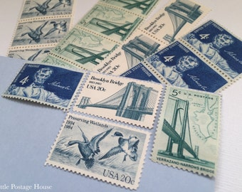 Something Blue | Vintage Stamps | Unused Postage Stamps | For 5 Letters | 49 Cents