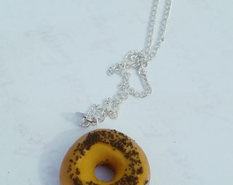 Bagel Necklace and Charm- Polymer Clay Food Jewelry