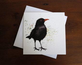 Blackbird Bird Square *Greetings Card* blank inside