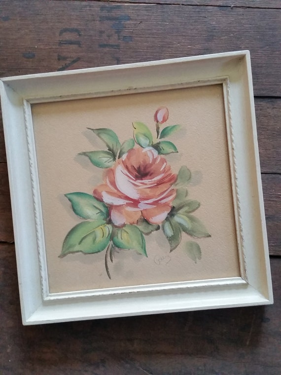 "Watercolor Painting of Roses - Signed by Rieman | Framed Botanical Art | 9.5"" Vintage Mid-Century Floral Artwork 