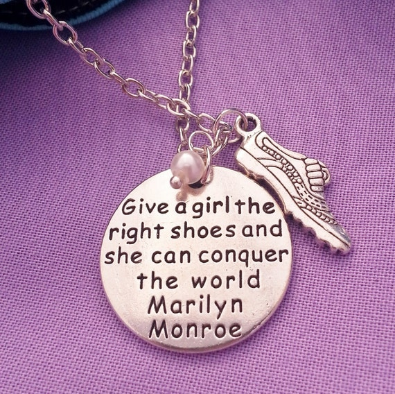 Give a Girl a Pair of Shoes Necklace Earrings Set, Marilyn Monroe Charm, Runner Jewelry, Marathon Triathlon Gifts, Running Shoe Charms