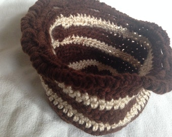Brown and Tan Crocheted Yarn Basket