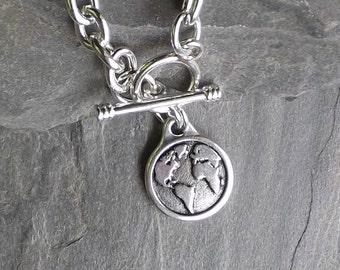 Silver Earth charm bracelet / Earth bracelet / Silver Globe bracelet / Silver link charm bracelet