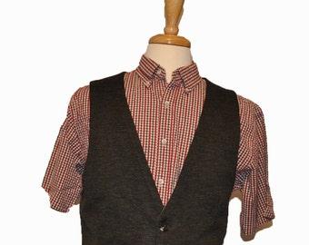MEDIUM MENS VEST | Mens Charcoal Grey Vest | Wool Vest | Mens size Medium Vest | Dark Grey Vest | Black Vest |