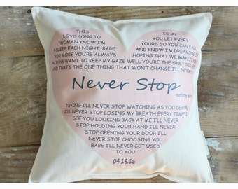 Lirycs pillow,  Love song pillow, valentine's day pillow , Personalized pillow, wedding gift Anniversary gift, two year anniversary(D5)