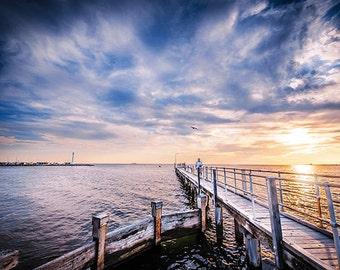 St.Kilda: Brookes Jetty, St.Kilda Beach. pier, light house, Port Phillip Bay, sunset FREE SHIPPING within AUSTRALIA
